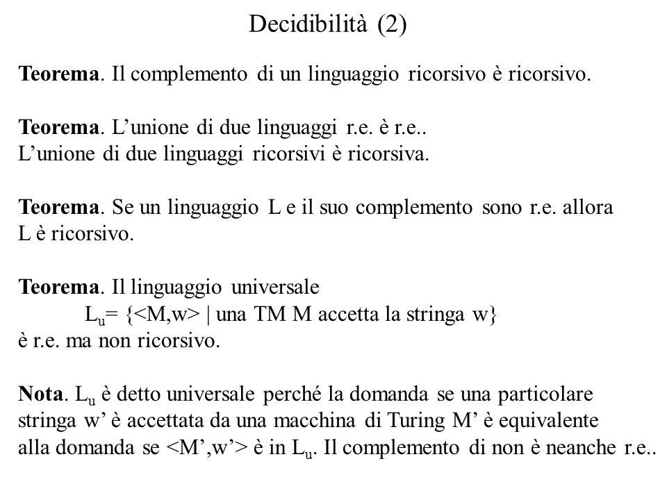 Decidibilità (2) Teorema. Il complemento di un linguaggio ricorsivo è ricorsivo.