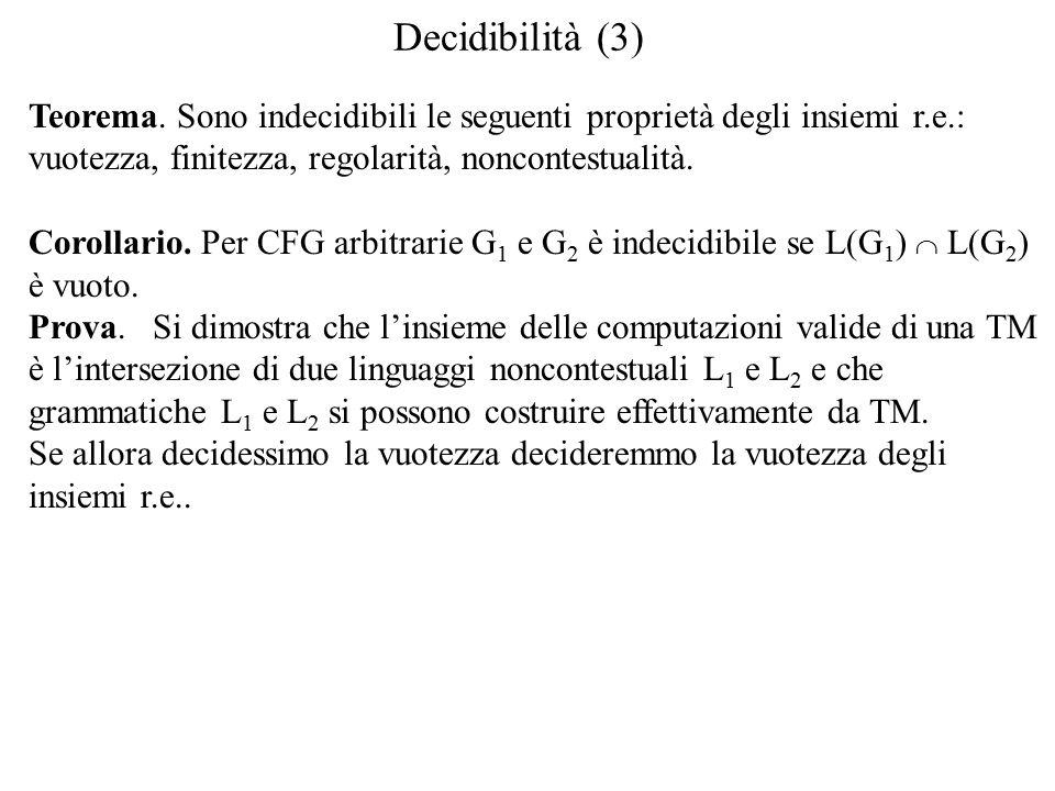 Decidibilità (3) Teorema.