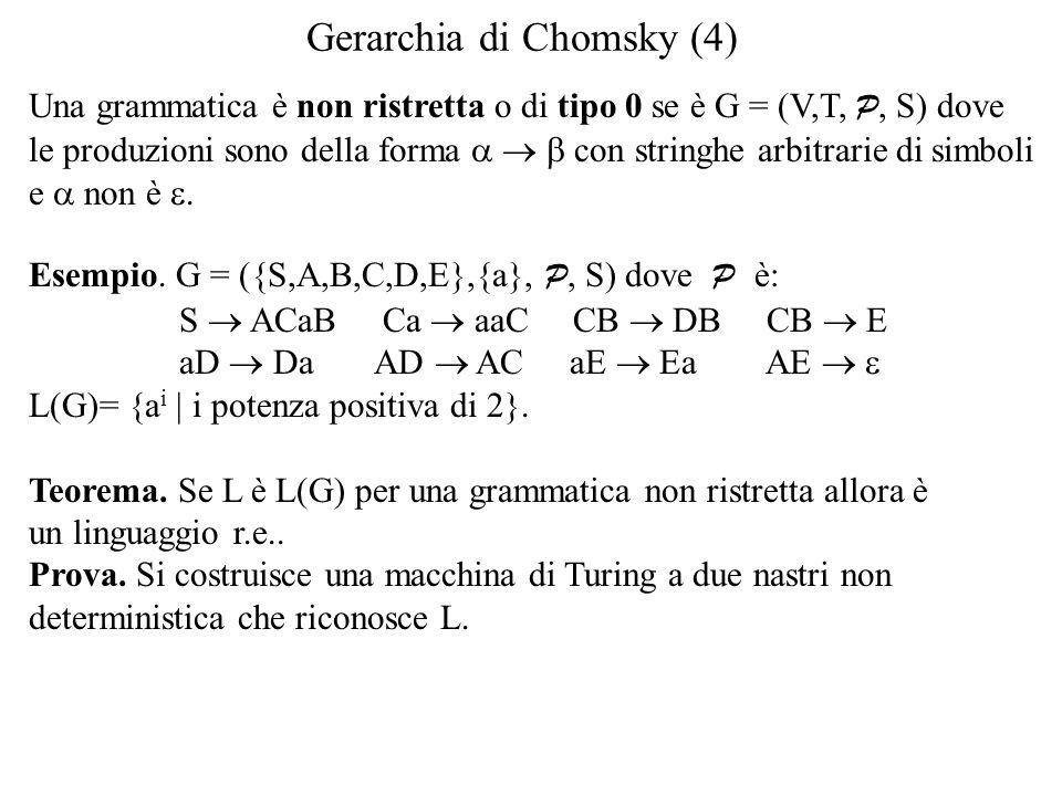 Gerarchia di Chomsky (4) Una grammatica è non ristretta o di tipo 0 se è G = (V,T, P, S) dove le produzioni sono della forma   con stringhe arbitrarie di simboli e  non è .