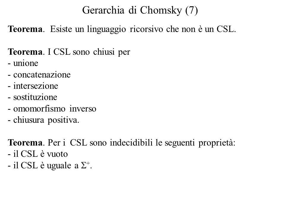Gerarchia di Chomsky (7) Teorema. Esiste un linguaggio ricorsivo che non è un CSL.