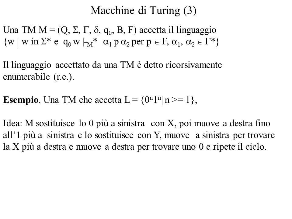 Macchine di Turing (3) Una TM M = (Q, , , , q 0, B, F) accetta il linguaggio {w | w in  * e q 0 w |- M *  1 p  2 per p  F,  1,  2   *} Il linguaggio accettato da una TM è detto ricorsivamente enumerabile (r.e.).