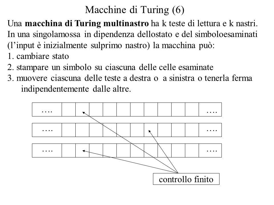 Macchine di Turing (6) Una macchina di Turing multinastro ha k teste di lettura e k nastri.