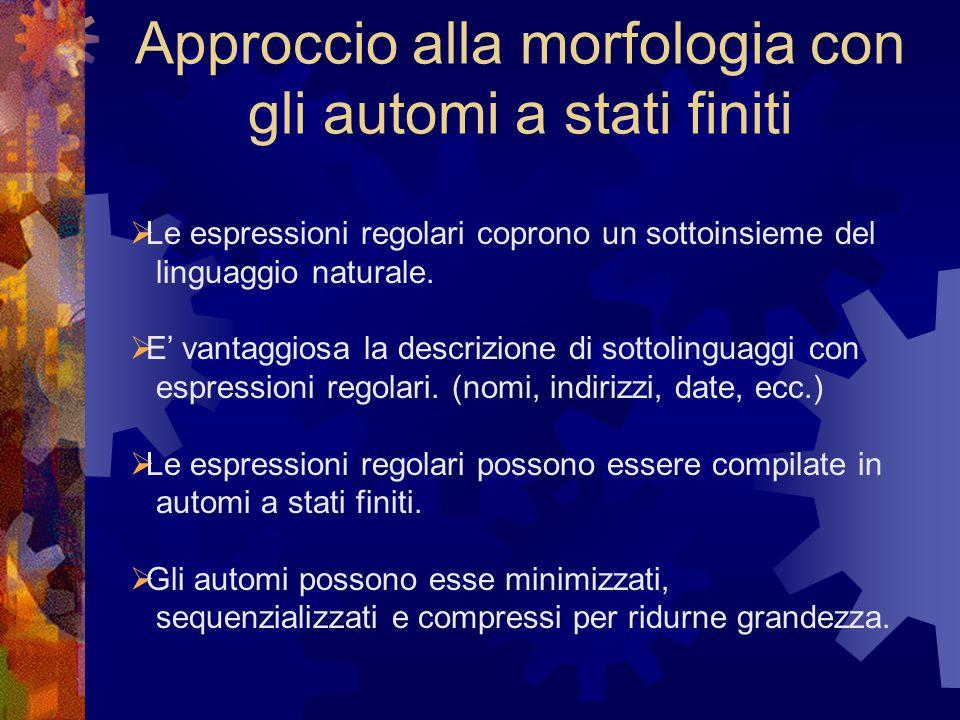 Approccio alla morfologia con gli automi a stati finiti  Le espressioni regolari coprono un sottoinsieme del linguaggio naturale.