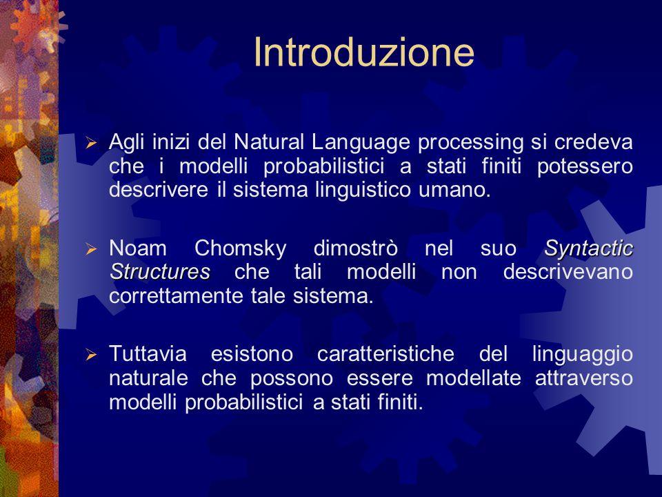 Introduzione  Agli inizi del Natural Language processing si credeva che i modelli probabilistici a stati finiti potessero descrivere il sistema linguistico umano.