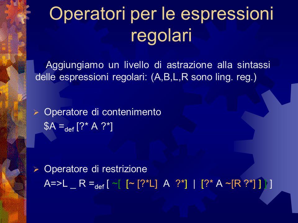 Operatori per le espressioni regolari  Operatore di contenimento $A = def [ * A *]  Operatore di restrizione A=>L _ R = def [ ~[ [~ [ *L] A *] | [ * A ~[R *] ] ] ] Aggiungiamo un livello di astrazione alla sintassi delle espressioni regolari: (A,B,L,R sono ling.