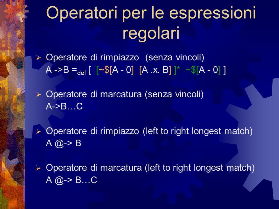 Operatori per le espressioni regolari  Operatore di rimpiazzo (senza vincoli) A ->B = def [ [~$[A - 0] [A.x.