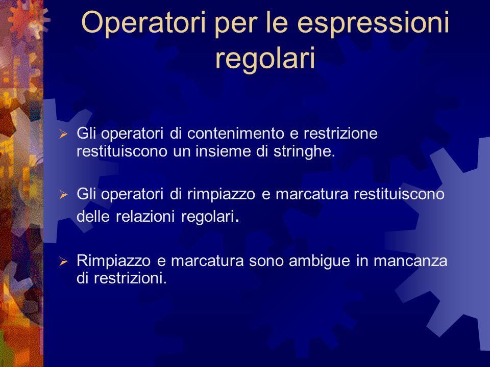 Operatori per le espressioni regolari  Gli operatori di contenimento e restrizione restituiscono un insieme di stringhe.