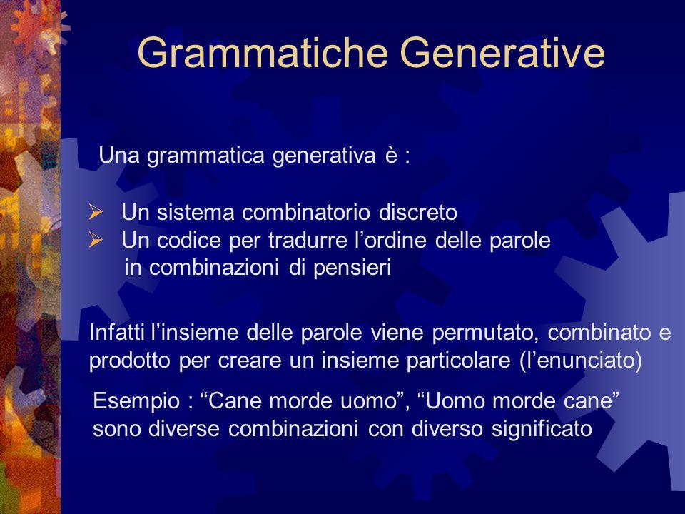 Grammatiche Generative Una grammatica generativa è :  Un sistema combinatorio discreto  Un codice per tradurre l'ordine delle parole in combinazioni di pensieri Infatti l'insieme delle parole viene permutato, combinato e prodotto per creare un insieme particolare (l'enunciato) Esempio : Cane morde uomo , Uomo morde cane sono diverse combinazioni con diverso significato