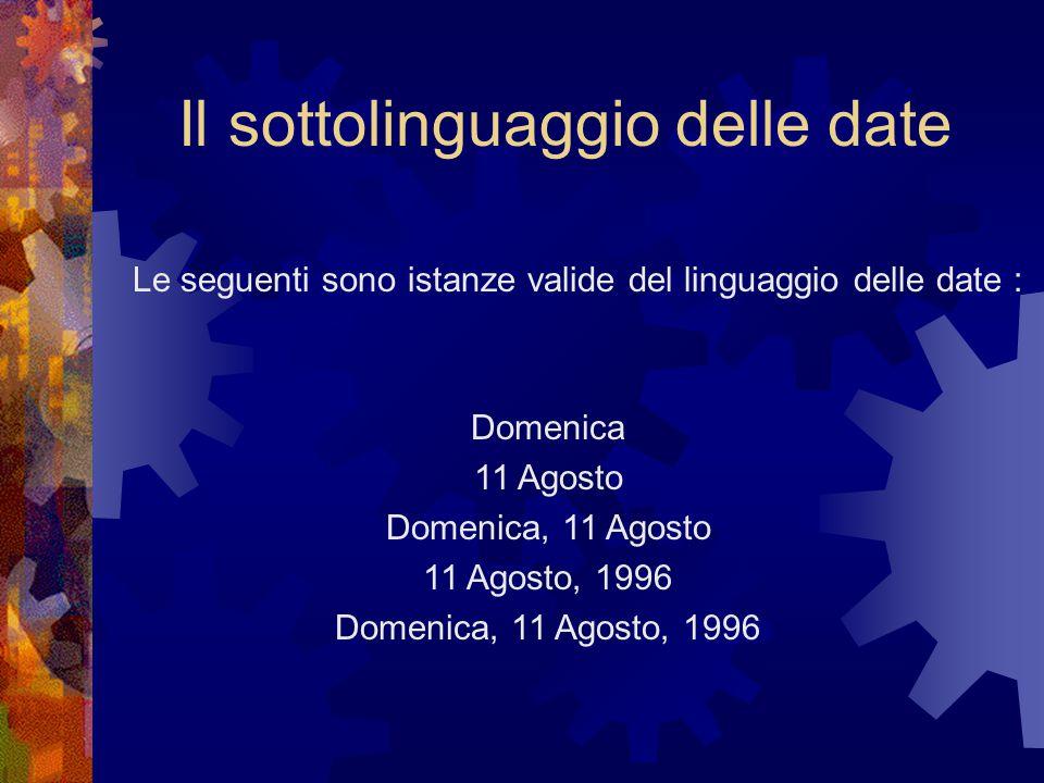 Il sottolinguaggio delle date Domenica 11 Agosto Domenica, 11 Agosto 11 Agosto, 1996 Domenica, 11 Agosto, 1996 Le seguenti sono istanze valide del linguaggio delle date :