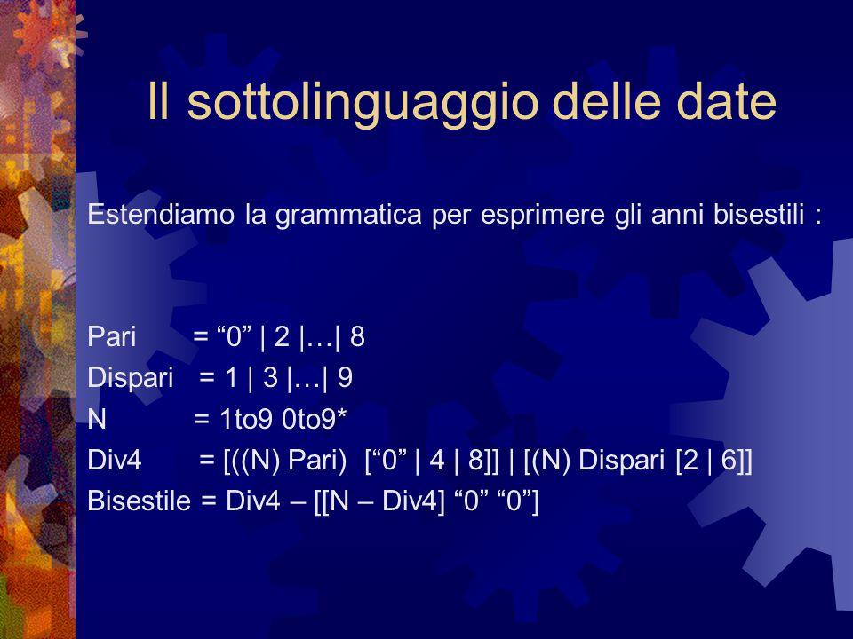 Il sottolinguaggio delle date Estendiamo la grammatica per esprimere gli anni bisestili : Pari = 0 | 2 |…| 8 Dispari = 1 | 3 |…| 9 N = 1to9 0to9* Div4 = [((N) Pari) [ 0 | 4 | 8]] | [(N) Dispari [2 | 6]] Bisestile = Div4 – [[N – Div4] 0 0 ]