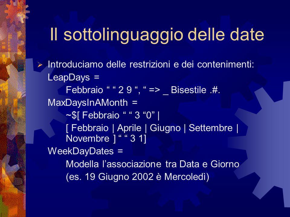 Il sottolinguaggio delle date  Introduciamo delle restrizioni e dei contenimenti: LeapDays = Febbraio 2 9 , => _ Bisestile.#.