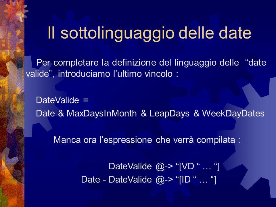 Il sottolinguaggio delle date Per completare la definizione del linguaggio delle date valide , introduciamo l'ultimo vincolo : DateValide = Date & MaxDaysInMonth & LeapDays & WeekDayDates Manca ora l'espressione che verrà compilata : DateValide @-> [VD … ] Date - DateValide @-> [ID … ]
