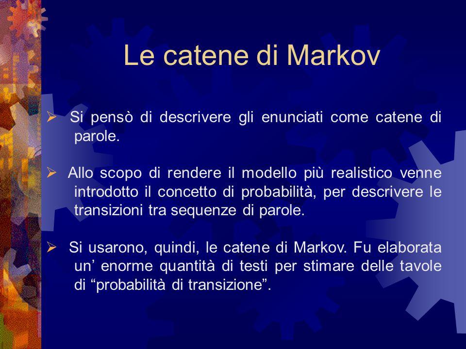 Le catene di Markov  Si pensò di descrivere gli enunciati come catene di parole.