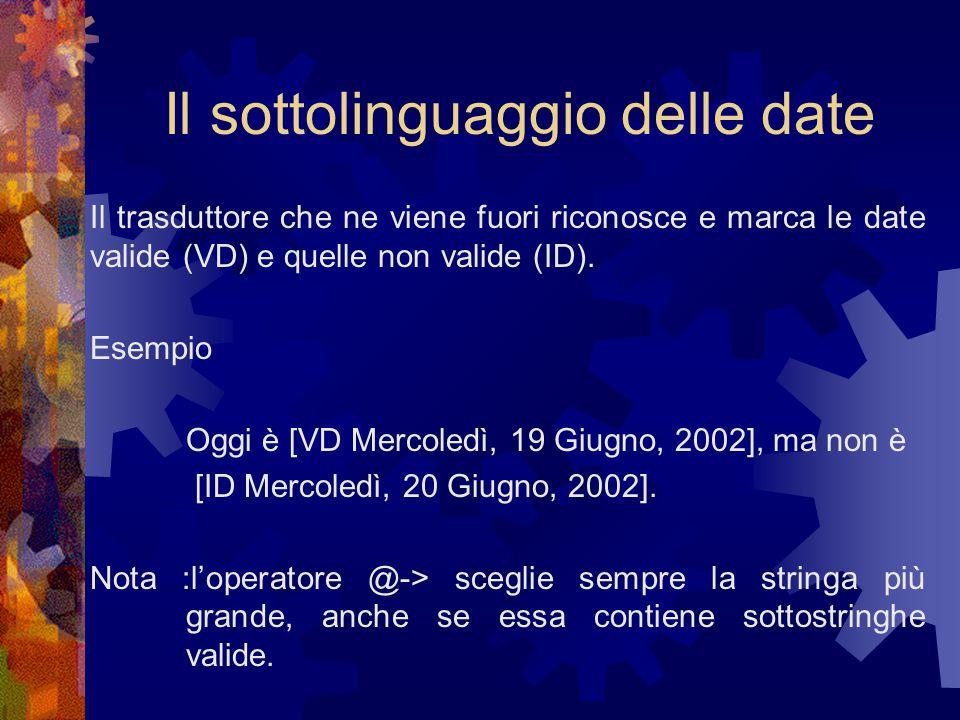 Il sottolinguaggio delle date Il trasduttore che ne viene fuori riconosce e marca le date valide (VD) e quelle non valide (ID).