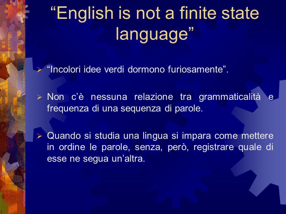 English is not a finite state language Alcuni enunciati non possono essere prodotti da una catena di parole.