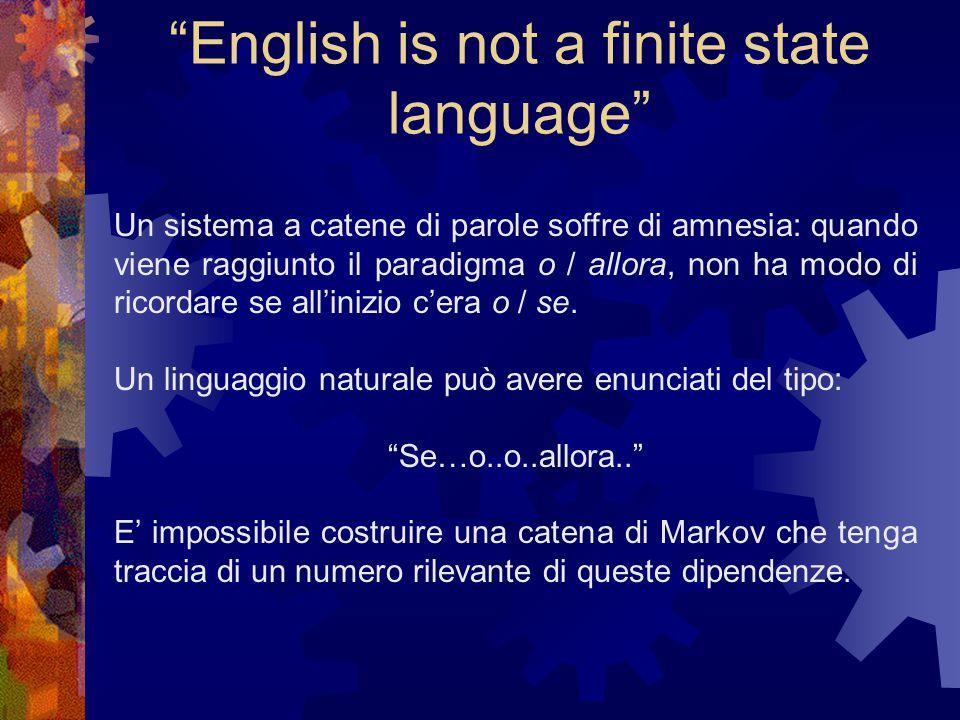 English is not a finite state language Chomsky dedusse che il linguaggio naturale non può essere descritto né da un automa a stati finiti e né da una grammatica context free.