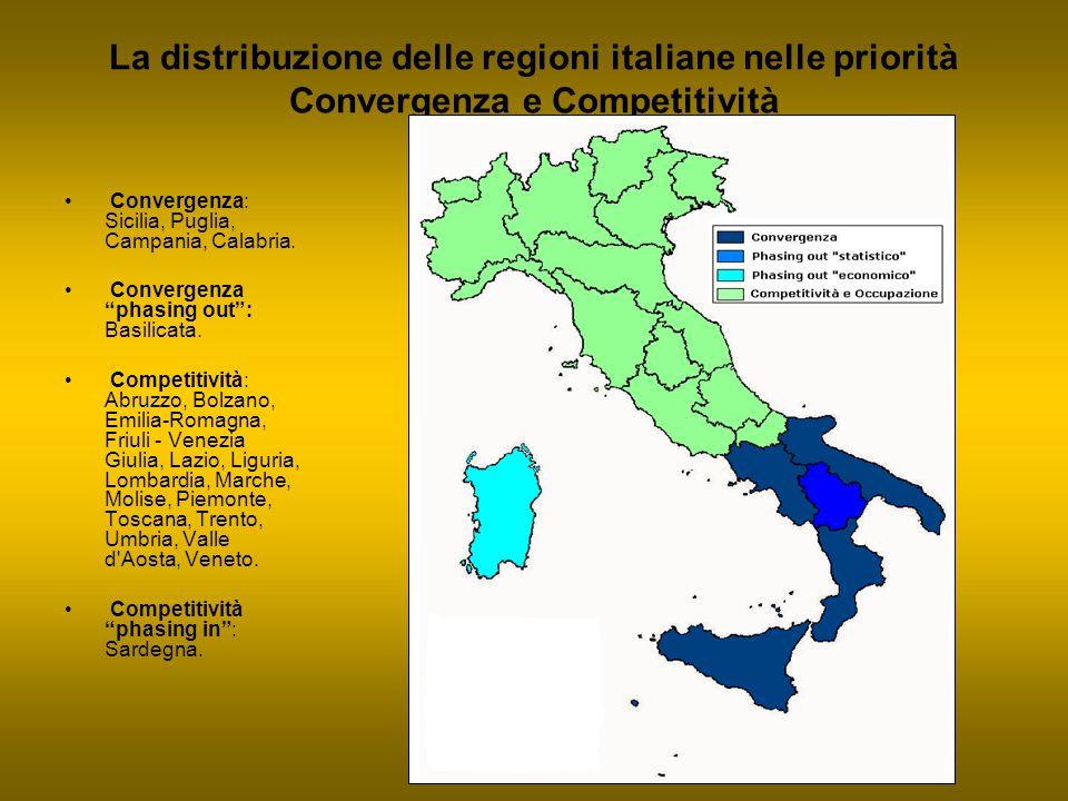 """La distribuzione delle regioni italiane nelle priorità Convergenza e Competitività Convergenza: Sicilia, Puglia, Campania, Calabria. Convergenza """"phas"""