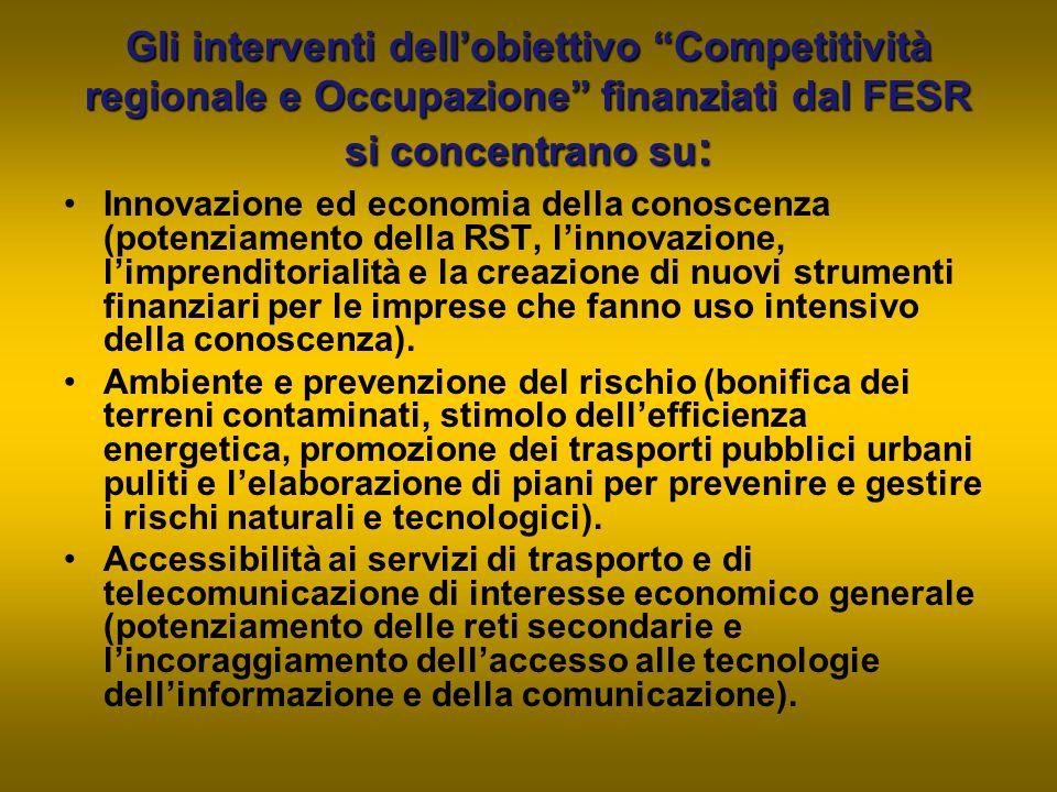 """Gli interventi dell'obiettivo """"Competitività regionale e Occupazione"""" finanziati dal FESR si concentrano su : Innovazione ed economia della conoscenza"""