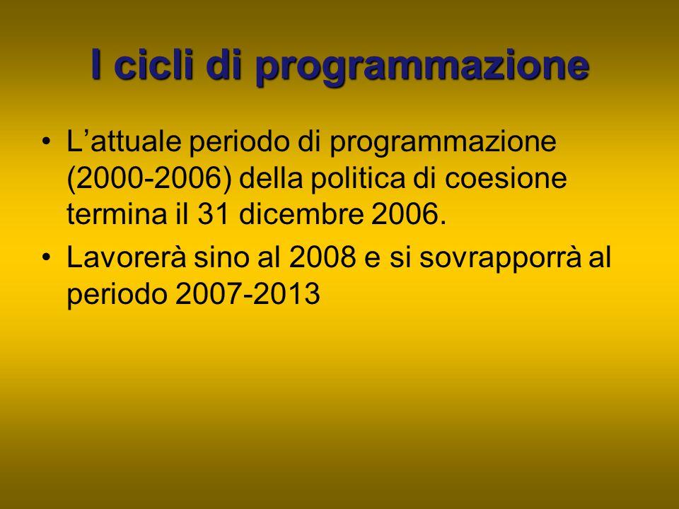Iciclidi programmazione I cicli di programmazione L'attuale periodo di programmazione (2000-2006) della politica di coesione termina il 31 dicembre 20