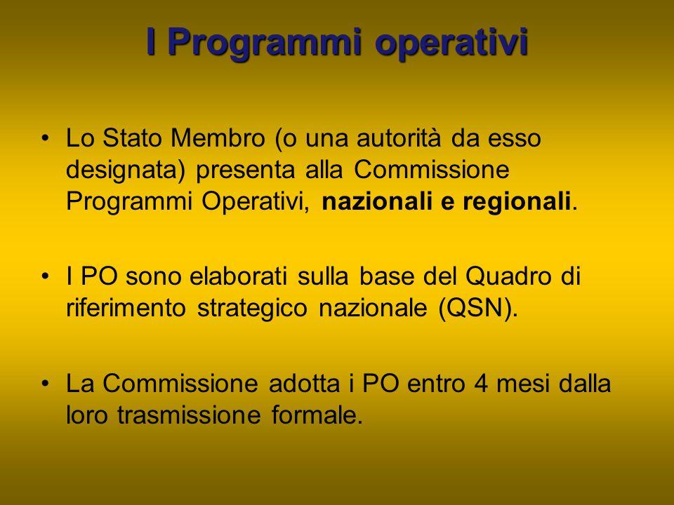 I Programmi operativi Lo Stato Membro (o una autorità da esso designata) presenta alla Commissione Programmi Operativi, nazionali e regionali. I PO so