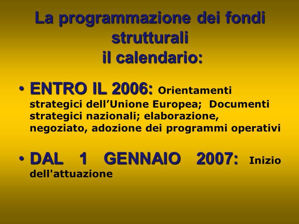 La programmazione dei fondi strutturali il calendario: ENTRO IL 2006:ENTRO IL 2006: Orientamenti strategici dell'Unione Europea; Documenti strategici