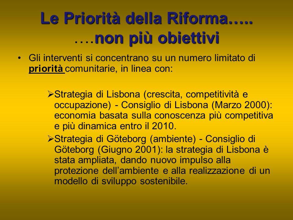 Le Priorità della Riforma….. non più obiettivi Le Priorità della Riforma….. ….non più obiettivi Gli interventi si concentrano su un numero limitato di