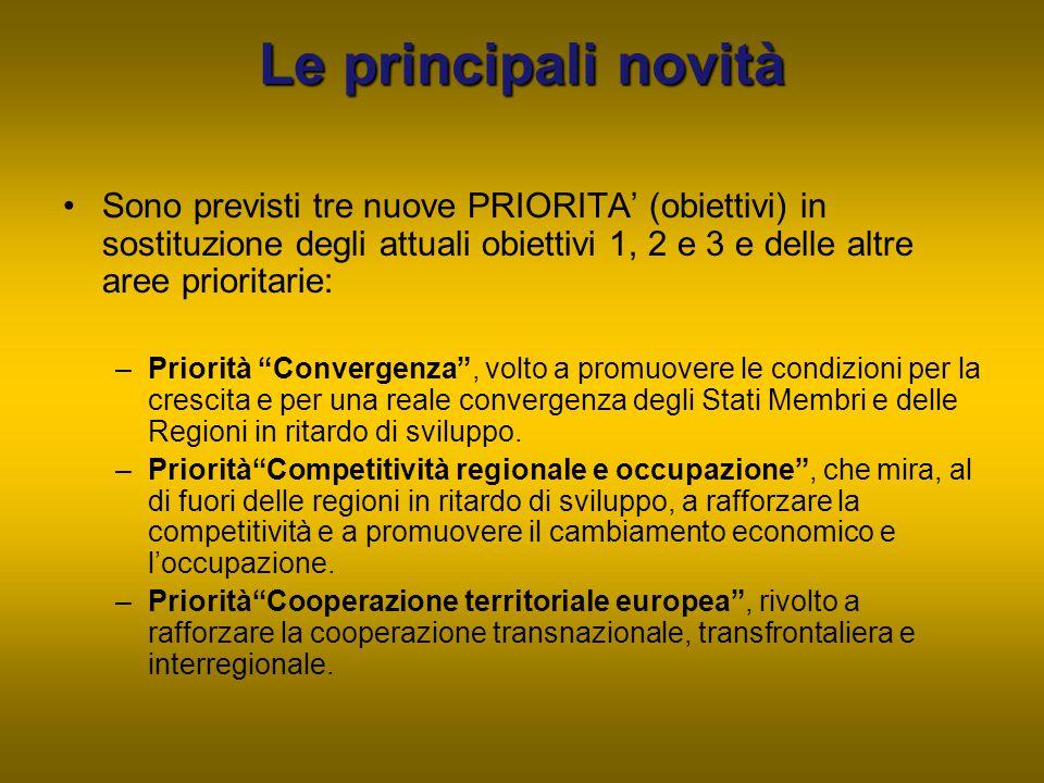 Le principali novità Sono previsti tre nuove PRIORITA' (obiettivi) in sostituzione degli attuali obiettivi 1, 2 e 3 e delle altre aree prioritarie: –P