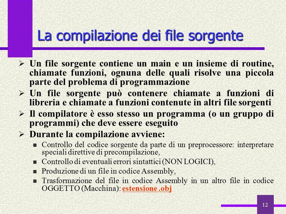 12 funzioni  Un file sorgente contiene un main e un insieme di routine, chiamate funzioni, ognuna delle quali risolve una piccola parte del problema