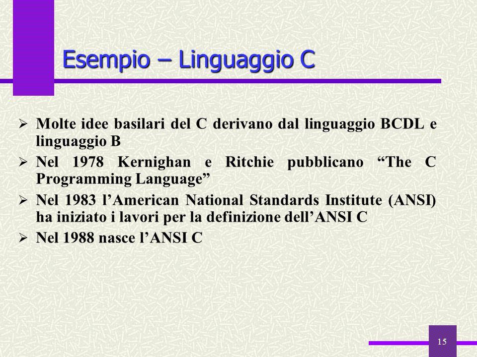 """15  Molte idee basilari del C derivano dal linguaggio BCDL e linguaggio B  Nel 1978 Kernighan e Ritchie pubblicano """"The C Programming Language""""  Ne"""