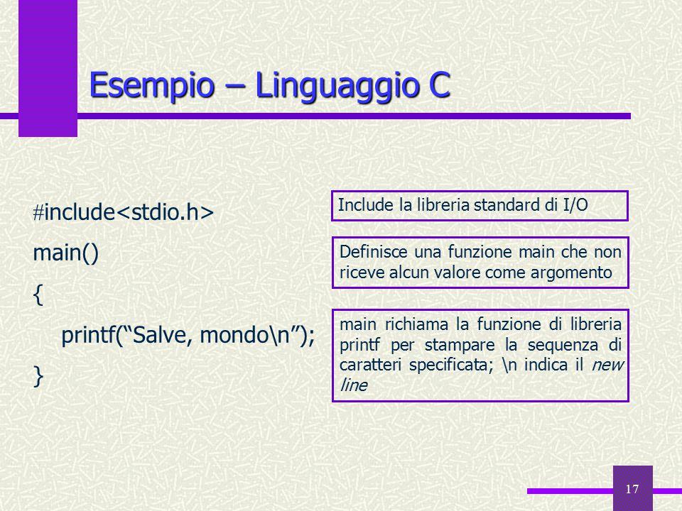 """17 Esempio – Linguaggio C  include main() { printf(""""Salve, mondo\n""""); } main richiama la funzione di libreria printf per stampare la sequenza di cara"""