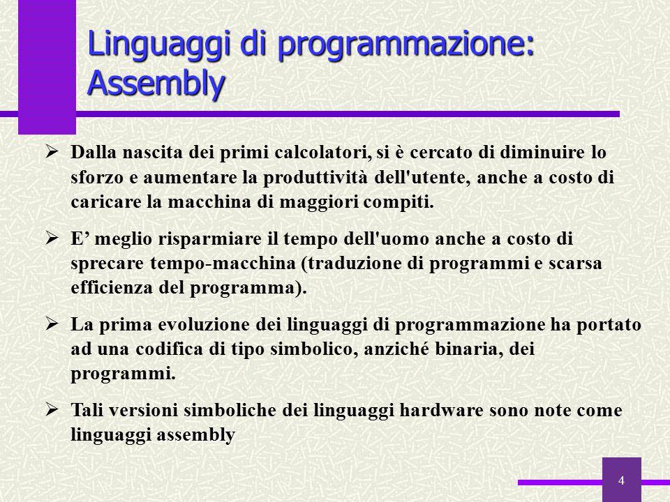 4 Linguaggi di programmazione: Assembly  Dalla nascita dei primi calcolatori, si è cercato di diminuire lo sforzo e aumentare la produttività dell'ut