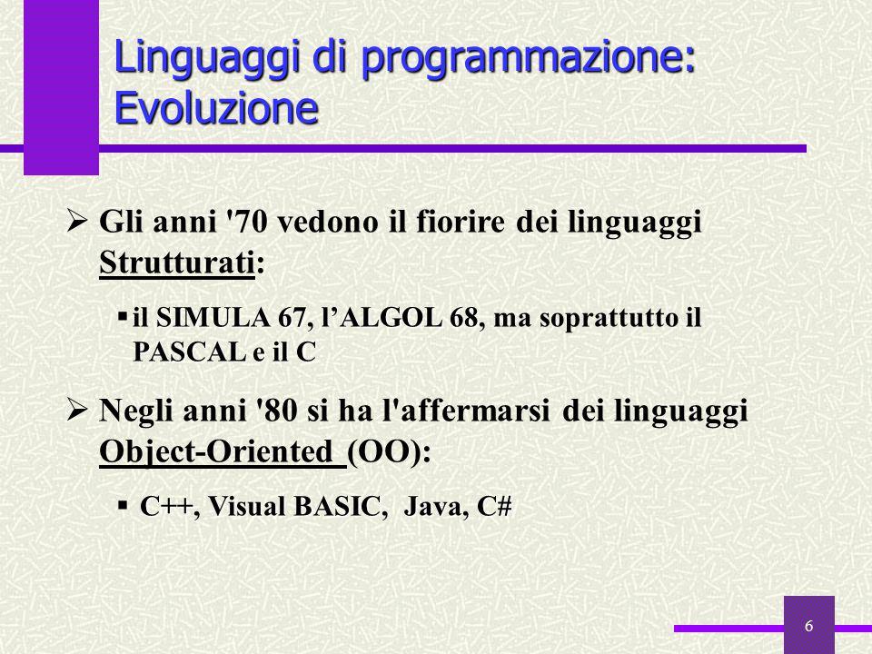 6 Linguaggi di programmazione: Evoluzione  Gli anni '70 vedono il fiorire dei linguaggi Strutturati: SIMULA 67ALGOL 68 PASCAL e il C  il SIMULA 67,