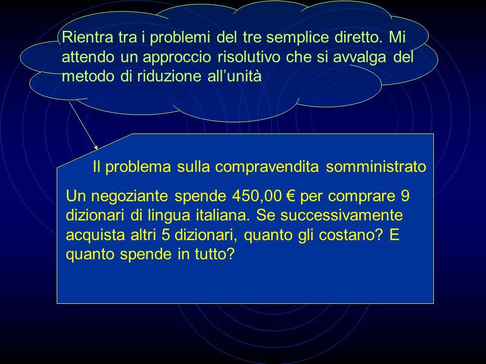Il problema sulla compravendita somministrato Un negoziante spende 450,00 € per comprare 9 dizionari di lingua italiana.