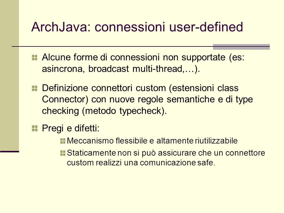 ArchJava: connessioni user-defined Alcune forme di connessioni non supportate (es: asincrona, broadcast multi-thread,…). Definizione connettori custom
