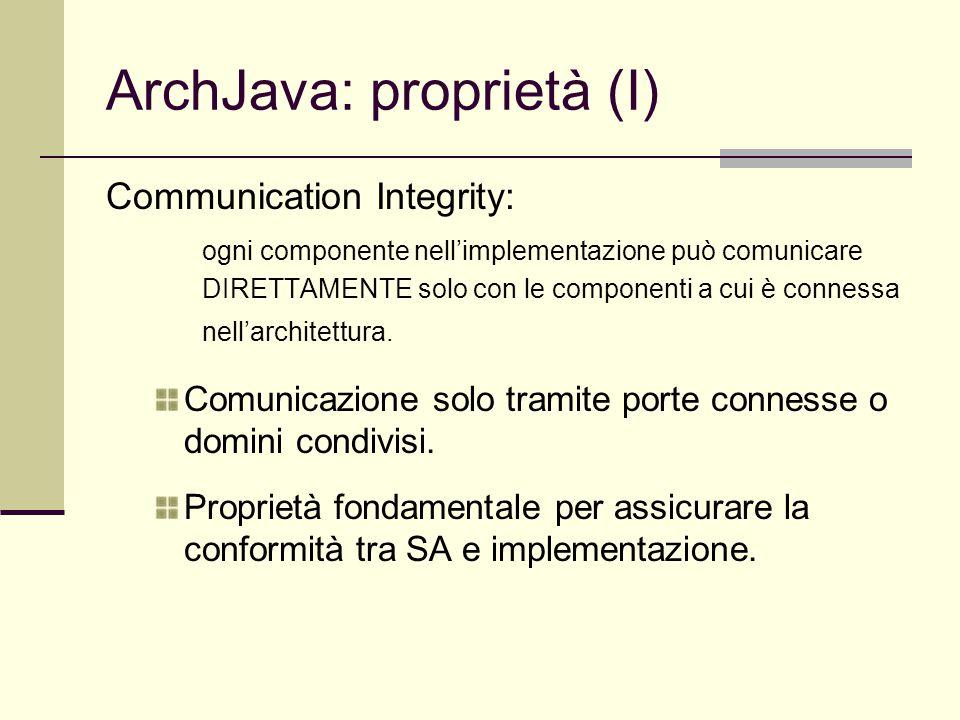 ArchJava: proprietà (I) Communication Integrity: ogni componente nell'implementazione può comunicare DIRETTAMENTE solo con le componenti a cui è connessa nell'architettura.