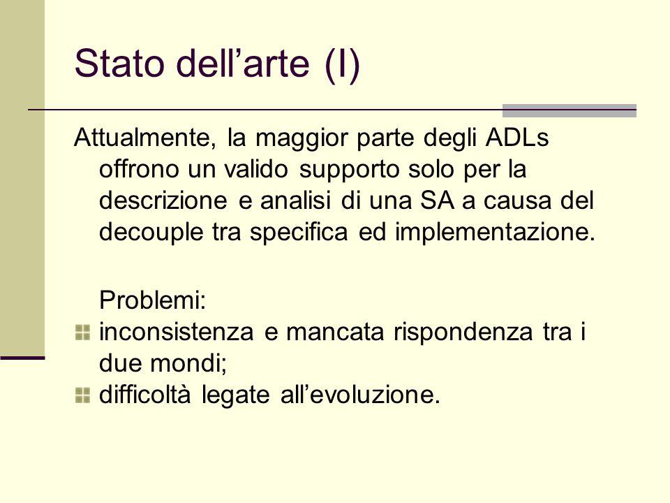 Stato dell'arte (I) Attualmente, la maggior parte degli ADLs offrono un valido supporto solo per la descrizione e analisi di una SA a causa del decouple tra specifica ed implementazione.
