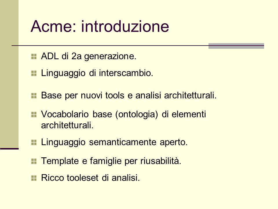 Acme: introduzione ADL di 2a generazione. Linguaggio di interscambio. Base per nuovi tools e analisi architetturali. Vocabolario base (ontologia) di e