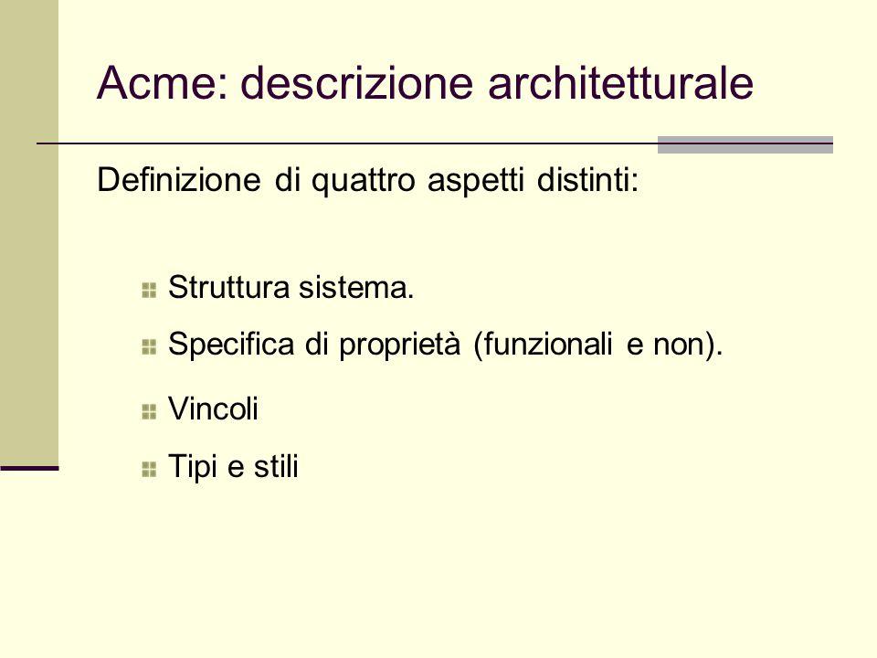 Acme: descrizione architetturale Definizione di quattro aspetti distinti: Struttura sistema. Specifica di proprietà (funzionali e non). Vincoli Tipi e