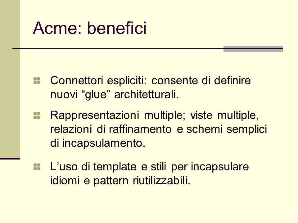 """Acme: benefici Connettori espliciti: consente di definire nuovi """"glue"""" architetturali. Rappresentazioni multiple; viste multiple, relazioni di raffina"""