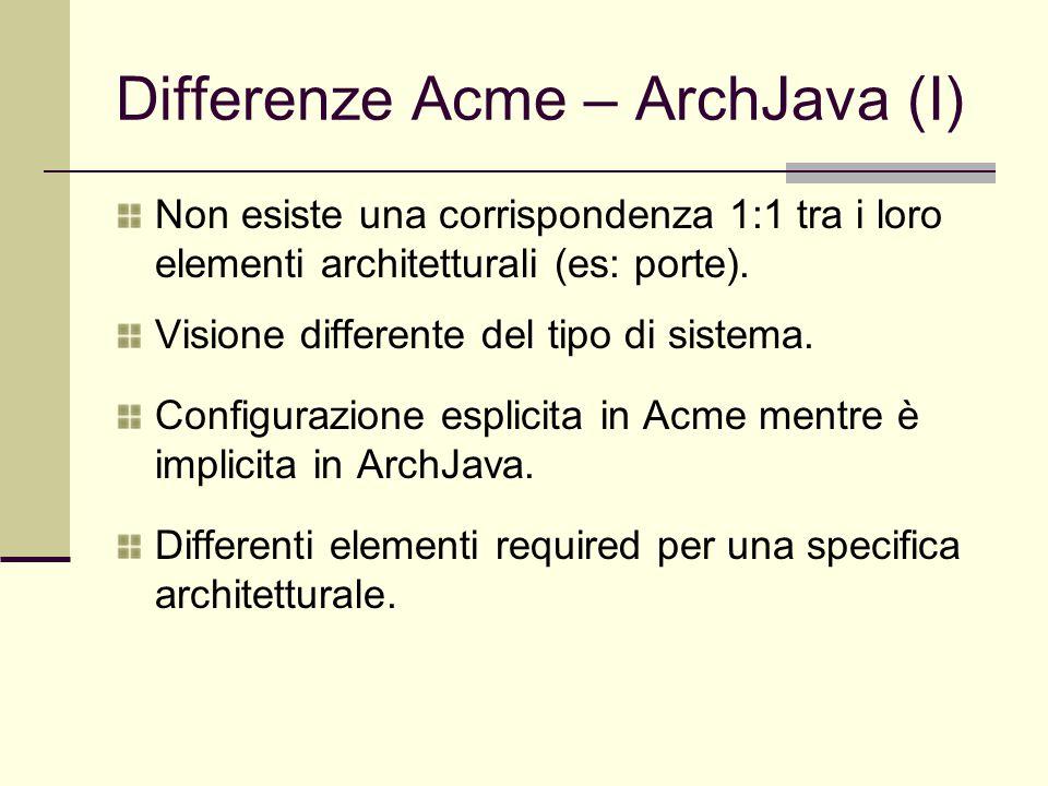 Differenze Acme – ArchJava (I) Non esiste una corrispondenza 1:1 tra i loro elementi architetturali (es: porte). Visione differente del tipo di sistem