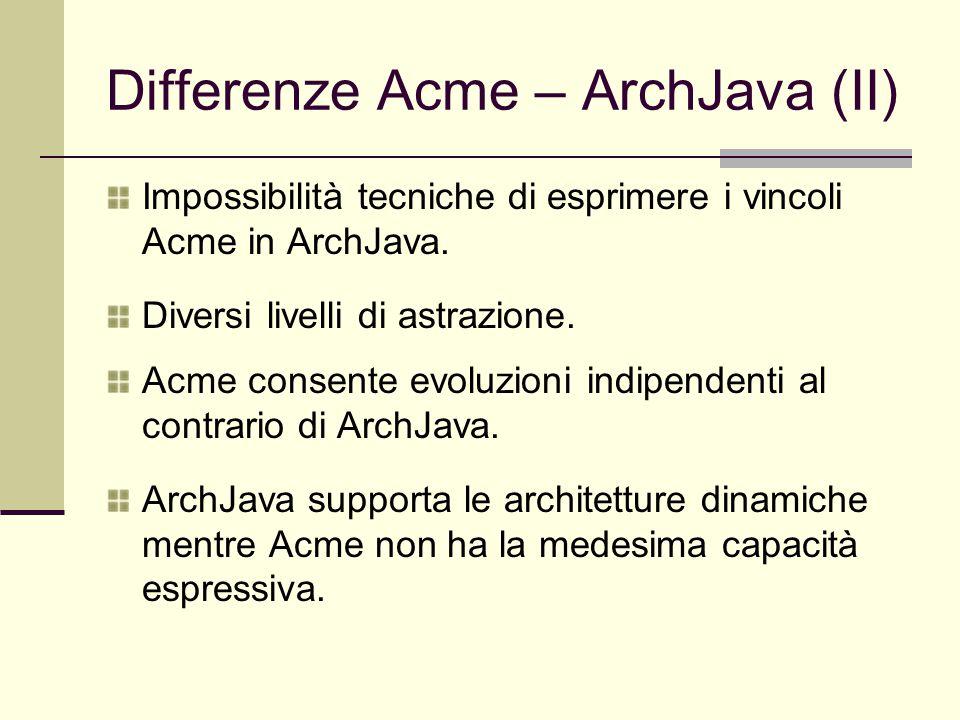 Differenze Acme – ArchJava (II) Impossibilità tecniche di esprimere i vincoli Acme in ArchJava. Diversi livelli di astrazione. Acme consente evoluzion