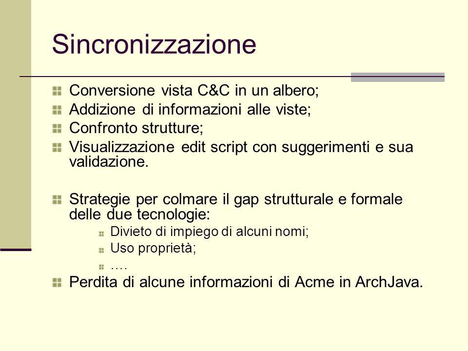 Sincronizzazione Conversione vista C&C in un albero; Addizione di informazioni alle viste; Confronto strutture; Visualizzazione edit script con suggerimenti e sua validazione.