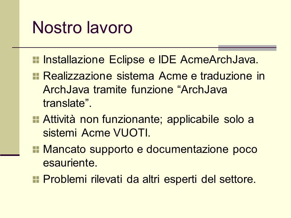 """Nostro lavoro Installazione Eclipse e IDE AcmeArchJava. Realizzazione sistema Acme e traduzione in ArchJava tramite funzione """"ArchJava translate"""". Att"""