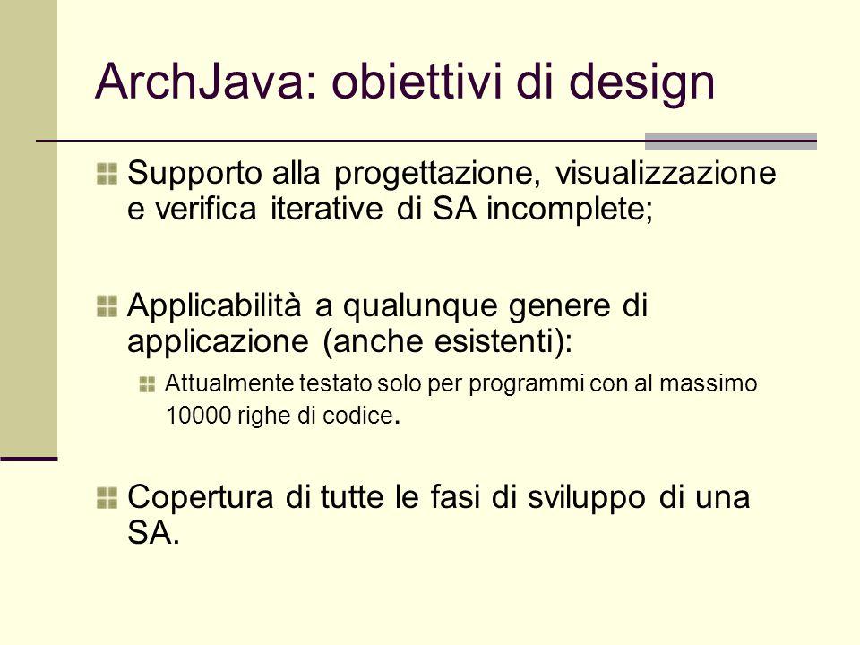 ArchJava: obiettivi di design Supporto alla progettazione, visualizzazione e verifica iterative di SA incomplete; Applicabilità a qualunque genere di applicazione (anche esistenti): Attualmente testato solo per programmi con al massimo 10000 righe di codice.