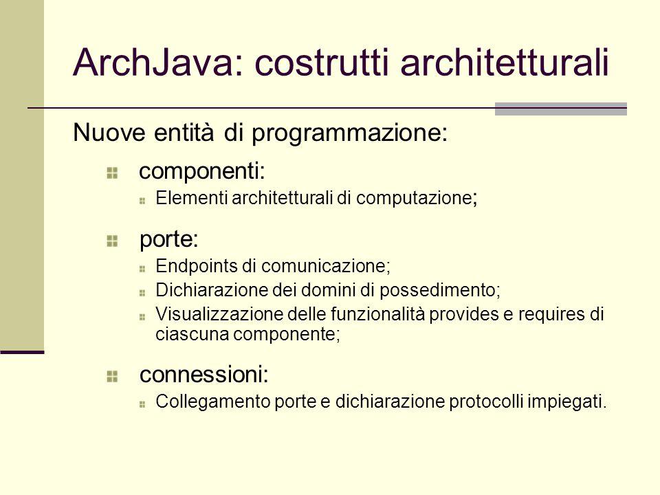 ArchJava: costrutti architetturali Nuove entità di programmazione: componenti: Elementi architetturali di computazione ; porte: Endpoints di comunicaz