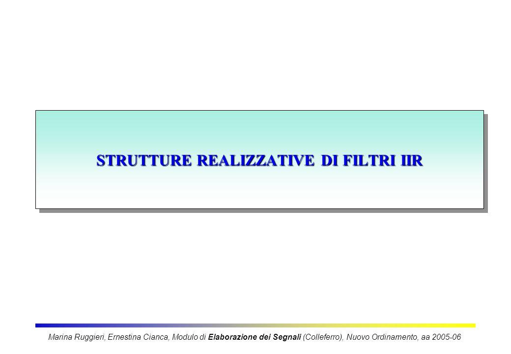 STRUTTURE REALIZZATIVE DI FILTRI IIR Marina Ruggieri, Ernestina Cianca, Modulo di Elaborazione dei Segnali (Colleferro), Nuovo Ordinamento, aa 2005-06