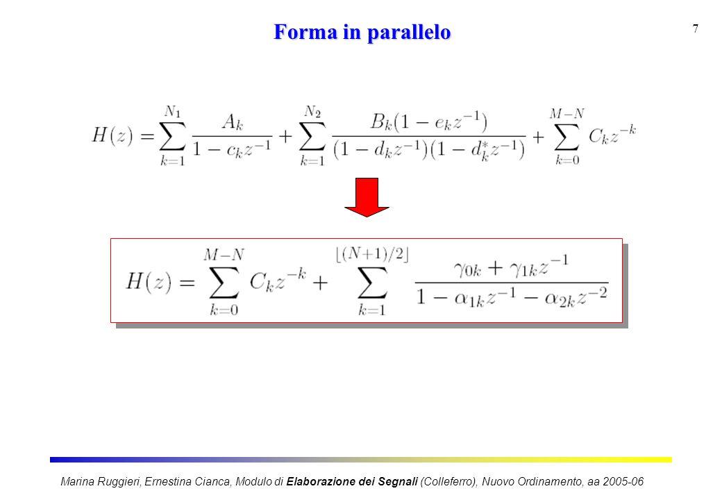 Marina Ruggieri, Ernestina Cianca, Modulo di Elaborazione dei Segnali (Colleferro), Nuovo Ordinamento, aa 2005-06 7 Forma in parallelo