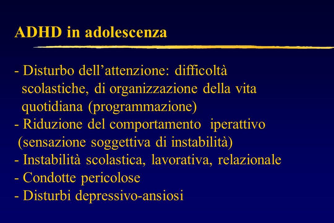 ADHD in adolescenza - Disturbo dell'attenzione: difficoltà scolastiche, di organizzazione della vita quotidiana (programmazione) - Riduzione del comportamento iperattivo (sensazione soggettiva di instabilità) - Instabilità scolastica, lavorativa, relazionale - Condotte pericolose - Disturbi depressivo-ansiosi