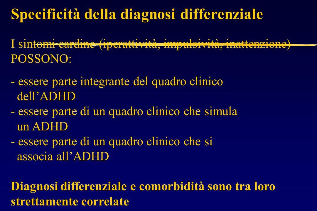 Specificità della diagnosi differenziale I sintomi cardine (iperattività, impulsività, inattenzione) POSSONO: - essere parte integrante del quadro clinico dell'ADHD - essere parte di un quadro clinico che simula un ADHD - essere parte di un quadro clinico che si associa all'ADHD Diagnosi differenziale e comorbidità sono tra loro strettamente correlate