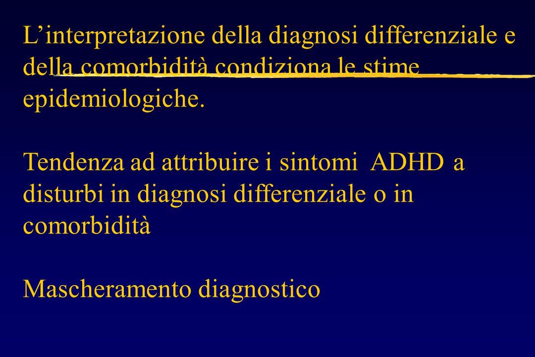 L'interpretazione della diagnosi differenziale e della comorbidità condiziona le stime epidemiologiche.